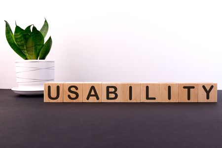 USABILITY word with building blocks on a light background and a dark table with a green flower