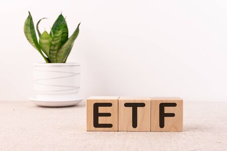 ETF word with building blocks on a light background and a green flower