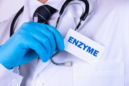 Doctor holding a card with text Enzyme medical concept