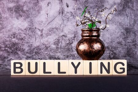 Word BULLYING made with wood building blocks on a gray background