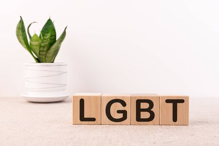 Word LGBT made with wooden building blocks on a light background
