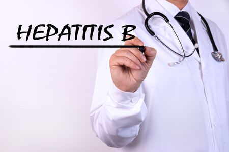 Doctor writing word Hepatitis B with marker Medical concept