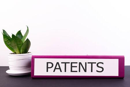 PATENTS word concept written on a folder lying on a dark table with a flower in a pot on a light background
