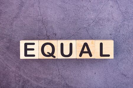 EQUAL word made with wood building blocks. Stock fotó
