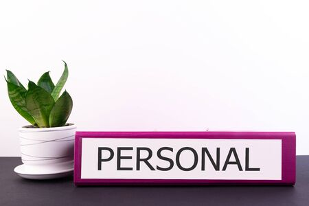 PERSONAL word concept written on a folder lying on a dark table with a flower in a pot on a light background