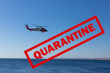 The inscription QUARANTINE on the background of the marine concept. Stok Fotoğraf
