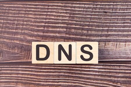 DNS word made with wood building blocks