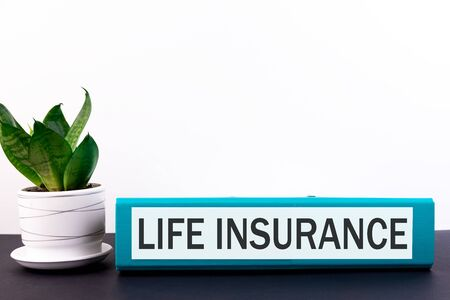Folder with the text label Life Insuranse lies on a dark table with a flower and a light background. Stock Photo