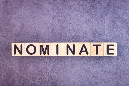 NOMINATE word made with wood building blocks.