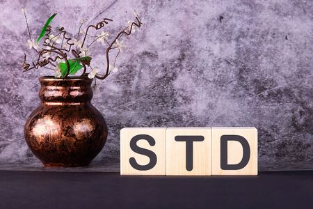 Word STD made with wood building blocks on a gray background Imagens