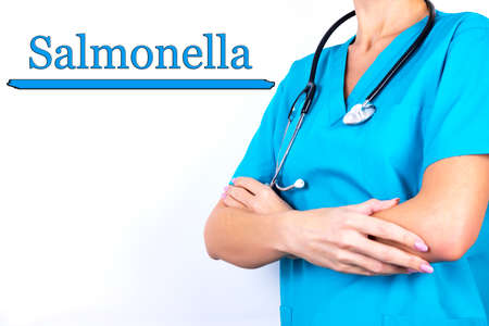Diagnosis, the word SALMONELLA is written on the background of a doctor in blue medical clothes. Medical concept.