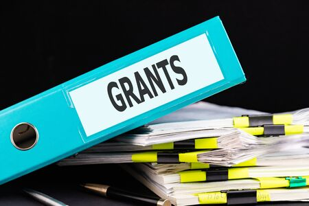 Text GRANTS is written on a folder lying on a stack of papers with a pen on the table. Business concept