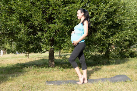 A pregnant woman is engaged in fitness, yoga in the park. Healthy lifestyle and sport concept .. High quality photo