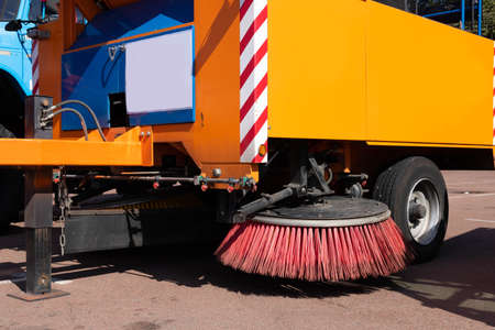 Part of a car for cleaning streets, roads. Clean city concept. Archivio Fotografico
