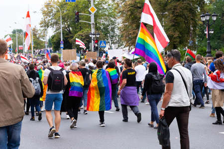 Minsk, Belarus - September 20, 2020: Peaceful protests in Belarus. LGBT rainbow flag during a fair election protest.