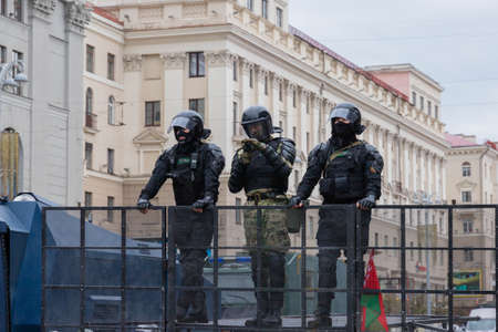 Minsk, Belarus - September 20, 2020: an elite police officer protects the area from protesters.