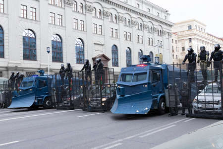 Minsk, Belarus - September 20, 2020: Armored Riot Water Cannon Truck, equipped with crowd control water cannons, manufactured by Streit Group Canada. Archivio Fotografico - 156131287