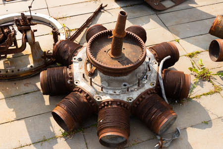 Aircraft engine components, part of an old engine