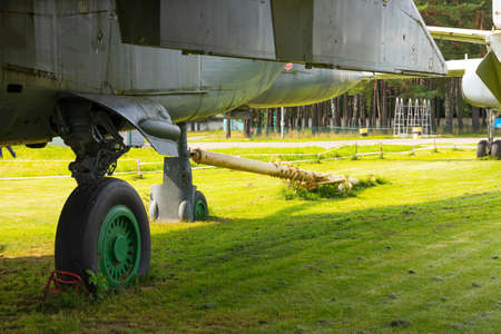 The landing gear of an old military aircraft.
