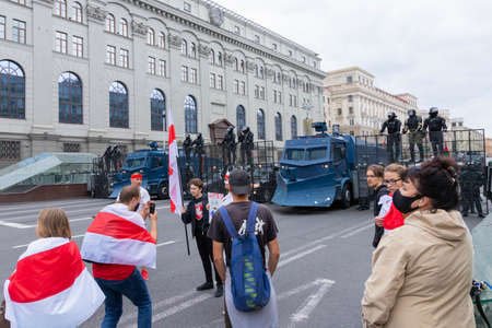 Minsk, Belarus - September 20, 2020: Armored Riot Water Cannon Truck, equipped with crowd control water cannons, manufactured by Streit Group Canada.