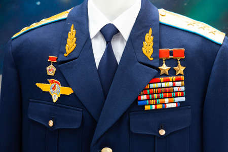 Minsk, Belarus - September 20, 2020: The dress uniform of the pilot, cosmonaut, hero of the Soviet Air Force Editoriali