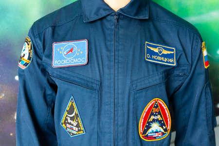 Minsk, Belarus - September 20, 2020: Clothes, uniform of a pilot, cosmonaut with stripes. Archivio Fotografico - 156499682
