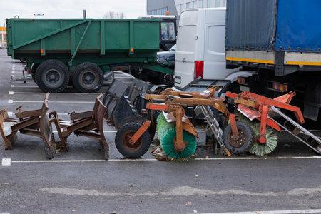 Street Sweeper Broom street sweeper. focus on Sweeper Broom