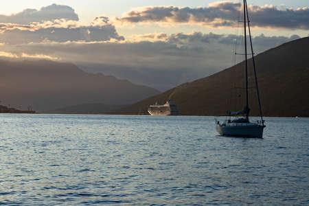 Dawn class cruise ship at sunrise, Bay of Kotor, Adriatic Sea, Montenegro