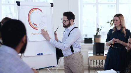Joven empresario positivo profesional que lidera una discusión activa con un equipo diverso en el rotafolio de la conferencia de la oficina.