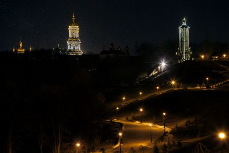 Kiev, Ukraine - March 01, 2017: Evening view of the Kiev-Pechersk Lavra. This place is a shrine of the Orthodox peasants. 写真素材