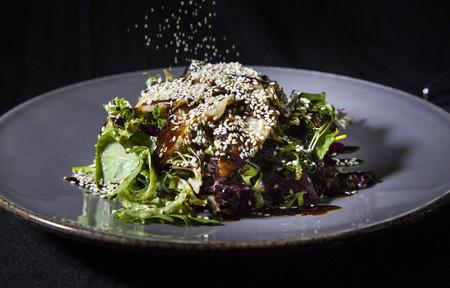 Kiev, Ukraine - February 26, 2018: Salad with eel and cheese.
