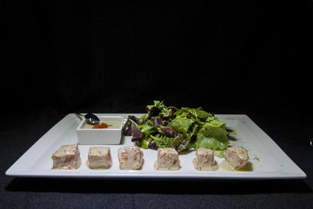 Green salad with salmon.