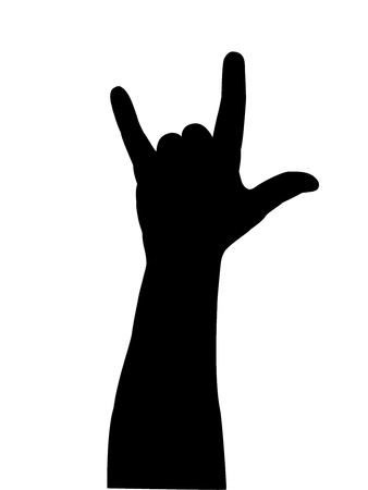 ring finger: black silhouette of a hand on a white background