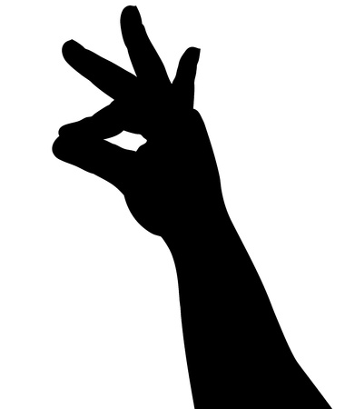 black silhouette of a hand on a white background Stock Vector - 10587035