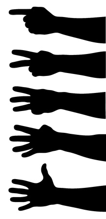 four hands: Hands counting. Hands silhouettes on white