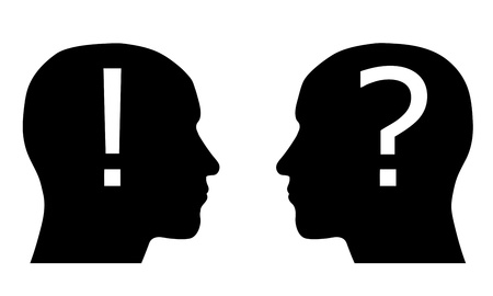 questioning: Two silhouette head with an exclamation and question marks Illustration