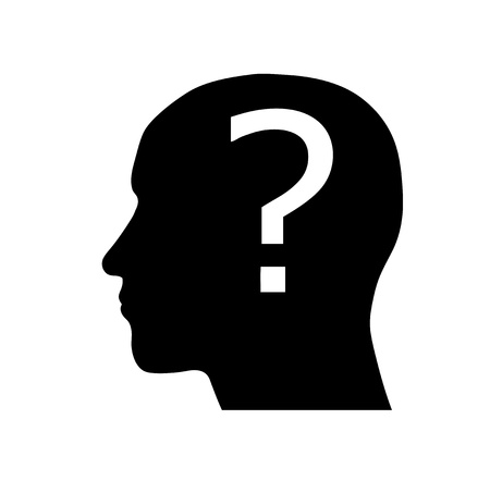 head silhouette: Silhouette of a head with question mark