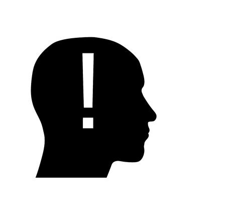 exclamation mark: Silueta de una cabeza con un signo de exclamaci�n Vectores