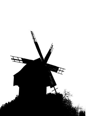 roof line: Silueta de un viejo molino de viento en una colina entre los arbustos Vectores