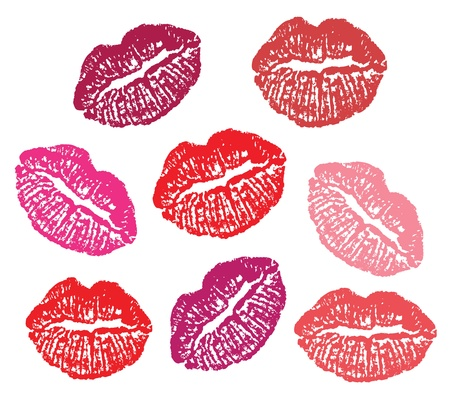 lipstick kiss: Set of lipstick prints  on a white background.