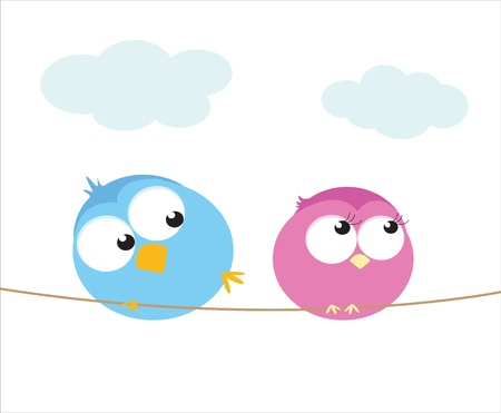 Two cartoon birds sitting on a wire.