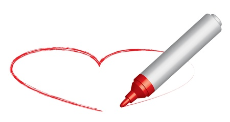 encircling: Red felt-tip pen draws a heart