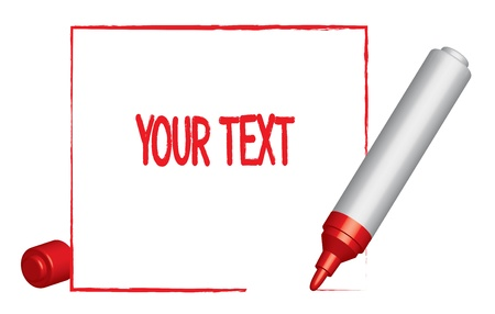 lable: Text lable with a frame  and a red felt-tip pen