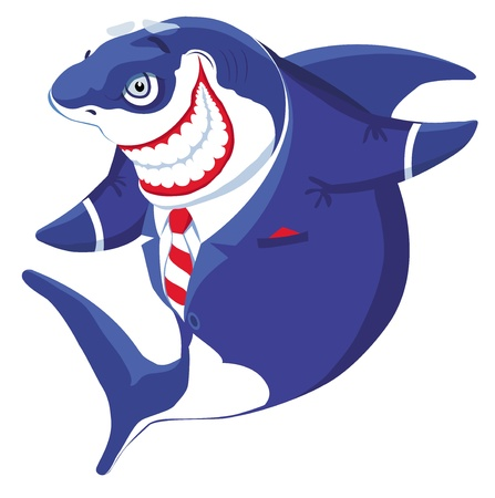 Cartoon smiling  shark in the suit illustration