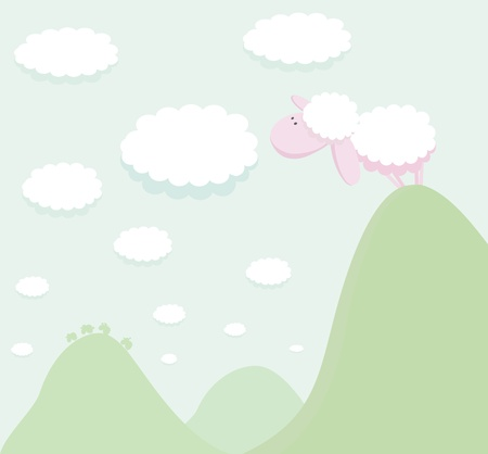 Sheep standing on top of a mountain looking at the cloud Vector