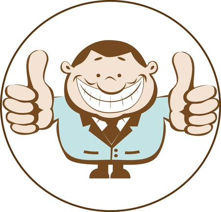 Businessman showing thumbs up. Retro illustration.  Vector