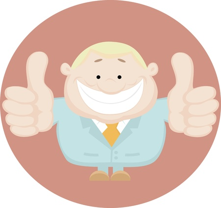 excellent: Illustration of businessman showing thumbs up