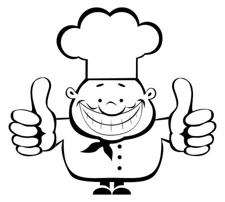 Cartoon lachende kok zien thumbs up. Afzonderlijke lagen Vector Illustratie