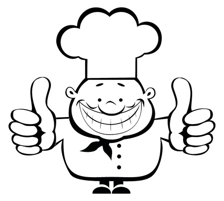 Cartoon smiling chef showing thumbs up. Separate layers Vector