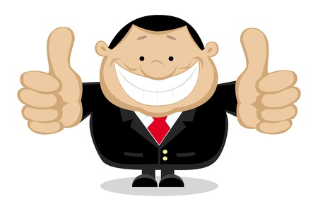 happy man cartoon: Businessman showing thumbs up. Separate layers.